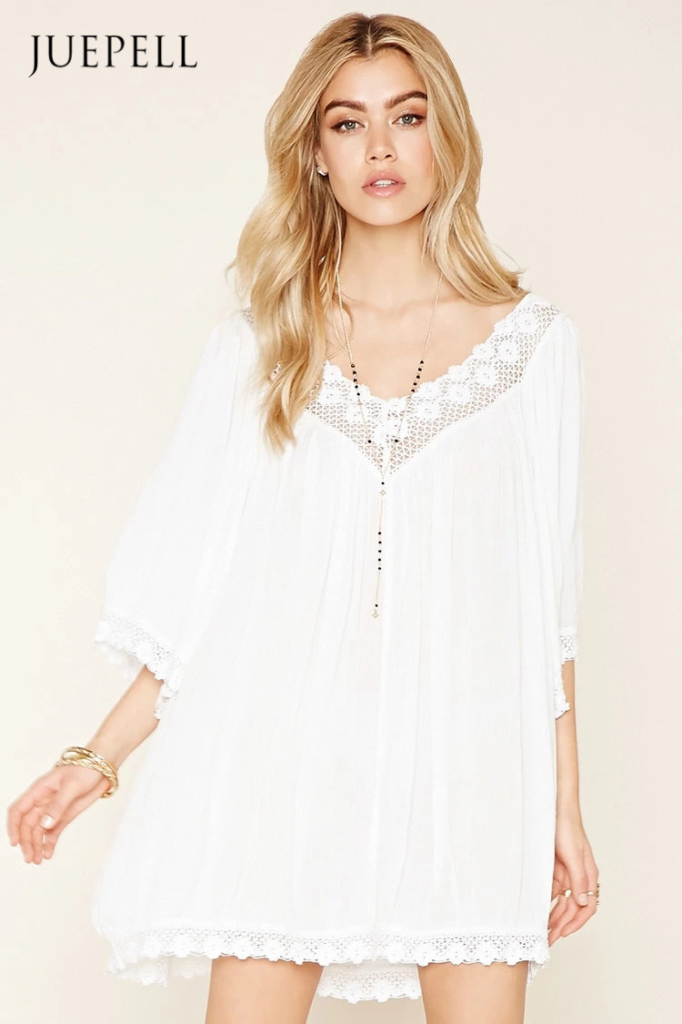 Boho Me Crochet-Trimmed Dress