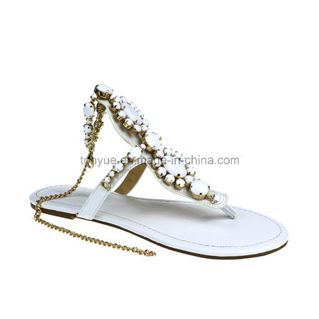Lady Leather Shoe Flip Flops with Crystal Women Sandals