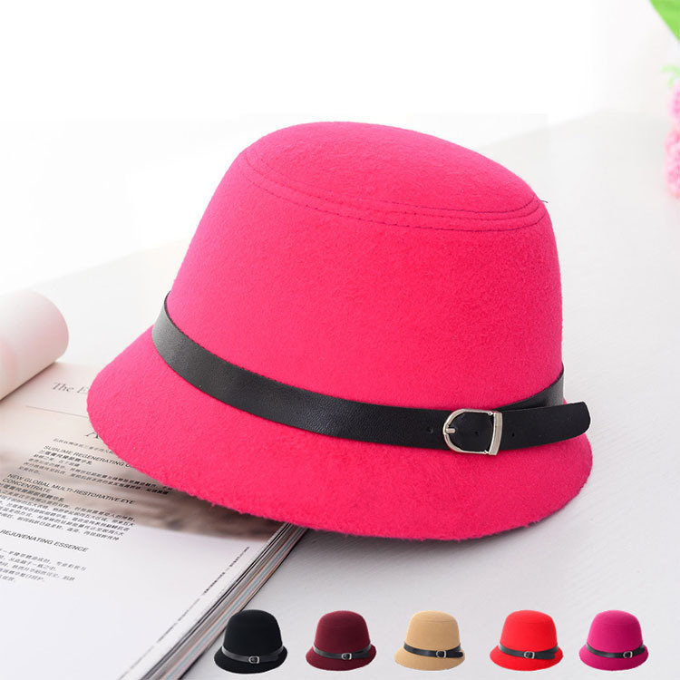 Lady Fashion Leather Belt Wool Knitted Winter Bucket Hat (YKY3232)