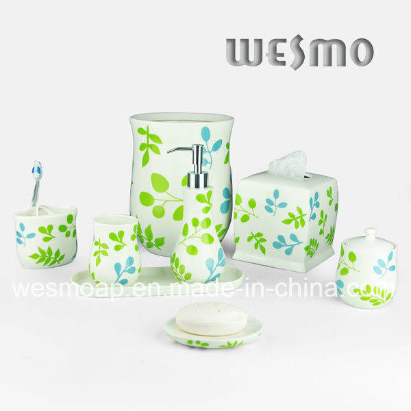 Flower Decal Porcelain Bathroom Set (WBC0708A)