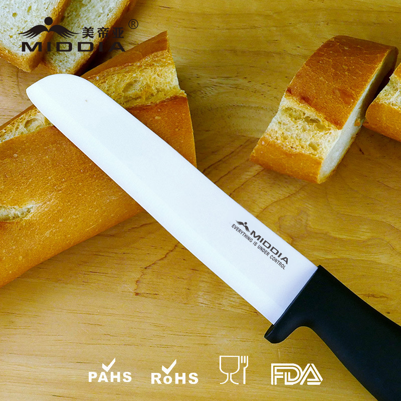 "Professional Kitchen Knife China Factory 6"" Ceramic Slicing Knife Bread Knife"