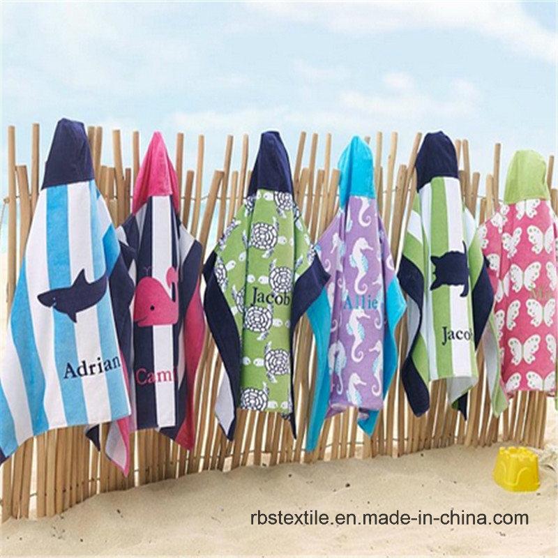 Cartoon Design Cotton Printed Kids Poncho for Beach/Bath