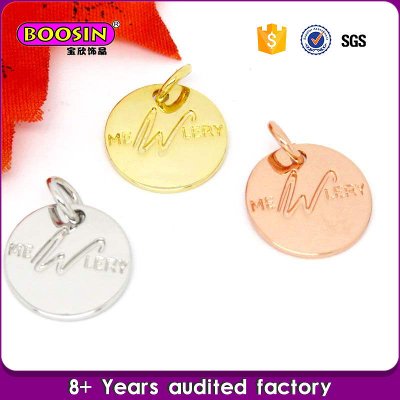 Factory Custom Personalized Metal Logo Tag Charm Jewelry