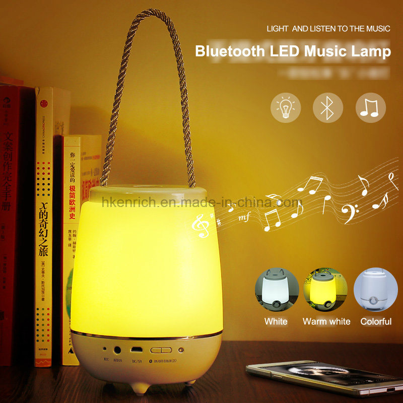 Portable LED Desk Table Discolor Lamp with Bluetooth Speaker