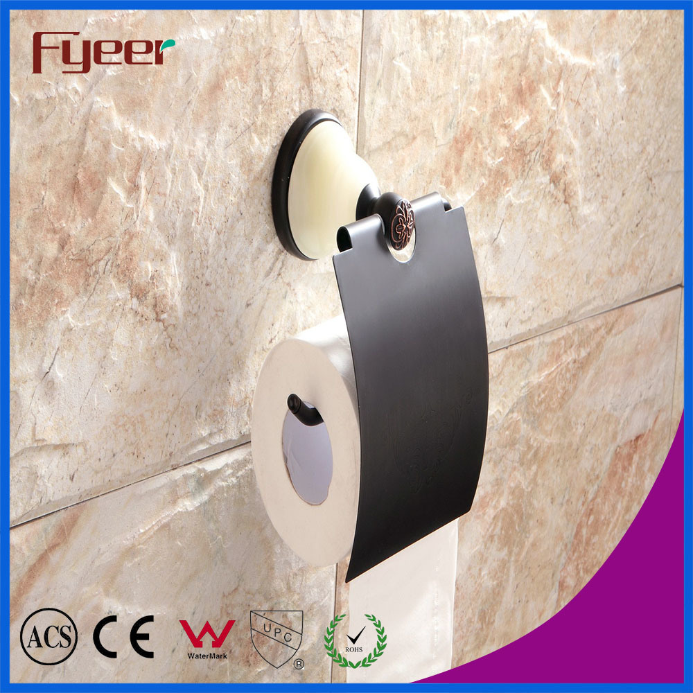 Fyeer Ceramic Base Black Bathroom Accessory Toilet Paper Roll Holder