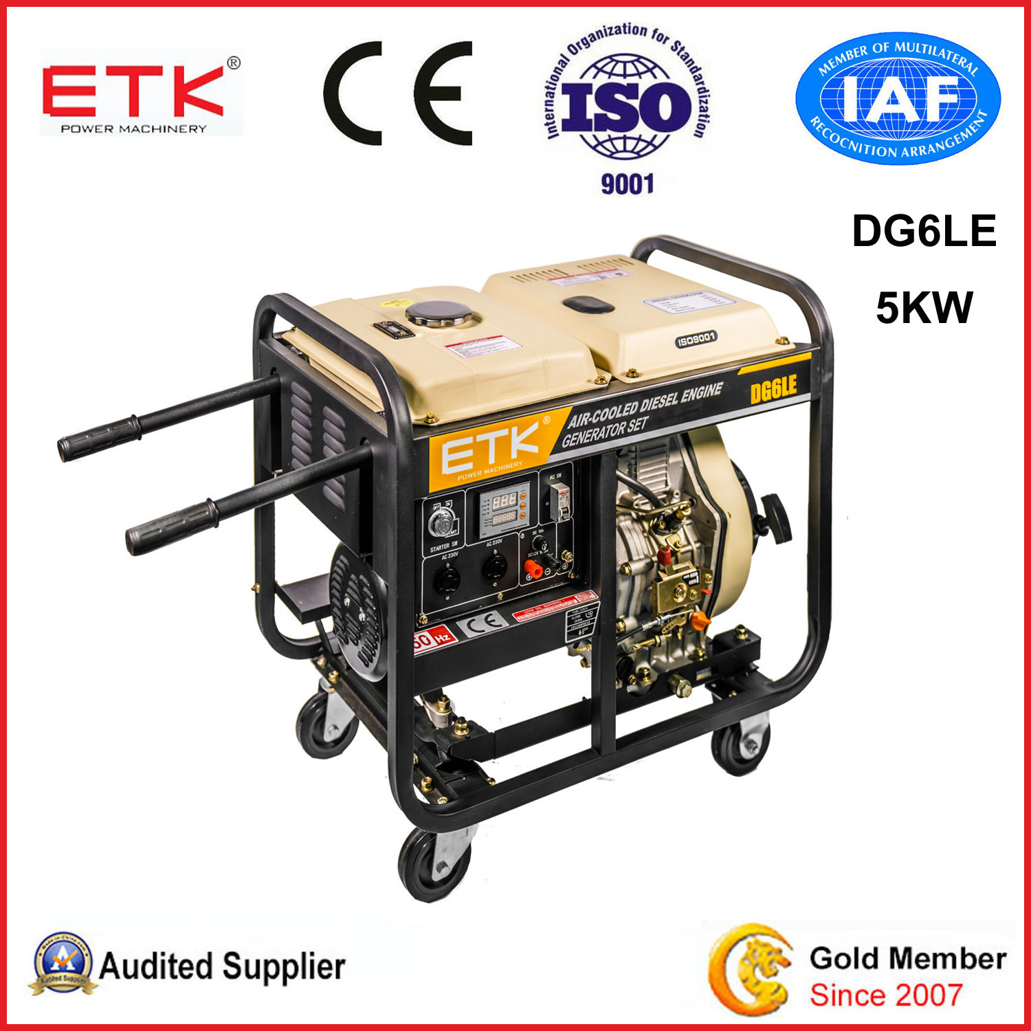 China Open Frame 5kw Home Use Diesel Power Generators DG6LE