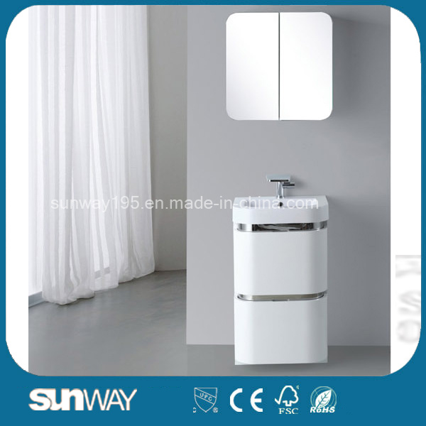 2016 High Gloss Italian PVC White Bathroom Cabinet with Mirror