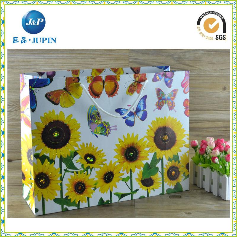 Elegant White Hot Gold Stamping Paper Gift Packing Bag (JP-PB013)