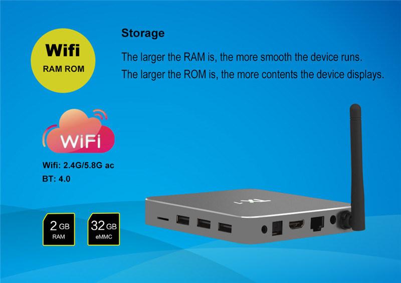 Android 6.0 2g 16g Smart TV Box Tx7 Quad Core Amlogic S905X Real 4k HDMI Output TV Box Media Player