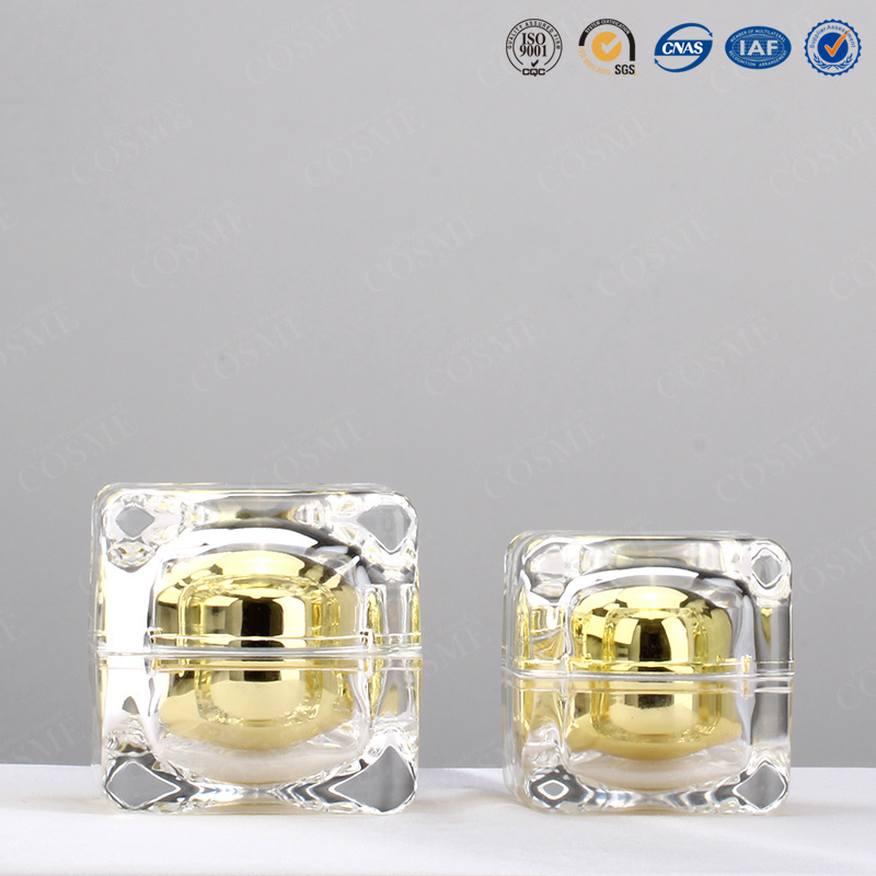 30g 50g High Quality Plastic Acrylic Square Luxury Cosmetic Packaging Jar