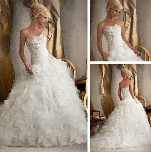 China bridal ball gown new strapless bridal wedding dress for Cascading ruffles wedding dress