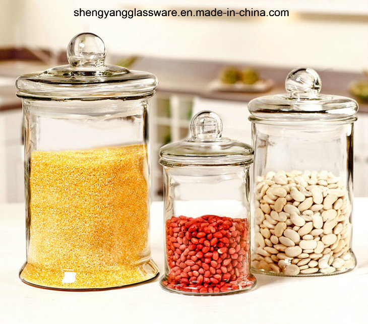 Cylinder Standing Glass Food Storage Jar with Airtight Glass Lid