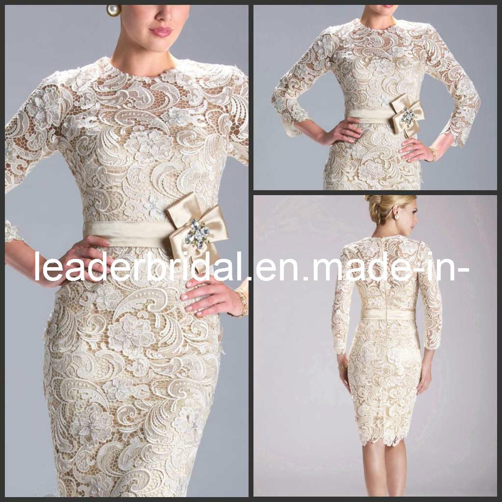 China Champange Lace Wedding Dress Short Formal Gown E3396 Photos Pictu