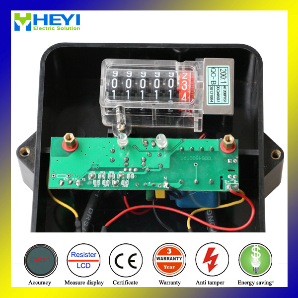 Glass Cover Bakelite Base Electrical Energy Meter 60Hz 1.0 for Southeast Aisan Country Outdoor Type Free Plastic Seal