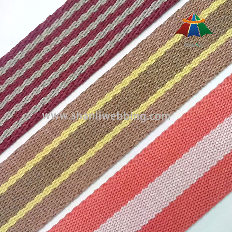 High Quality Cotton and Polyester Striped Webbing