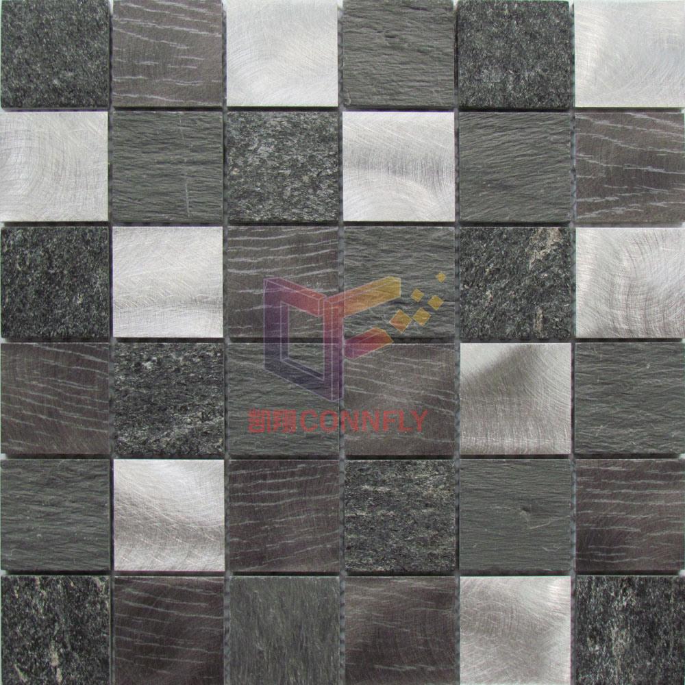 Aluminium with Pattern Mix Quartz and Slate Stone Mosaic (CFA93)
