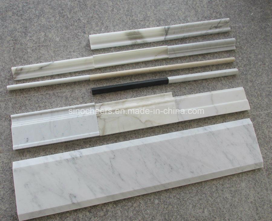 White Stone Tile Line Marble Floor Skirtings, Mouldings, Molding, Border