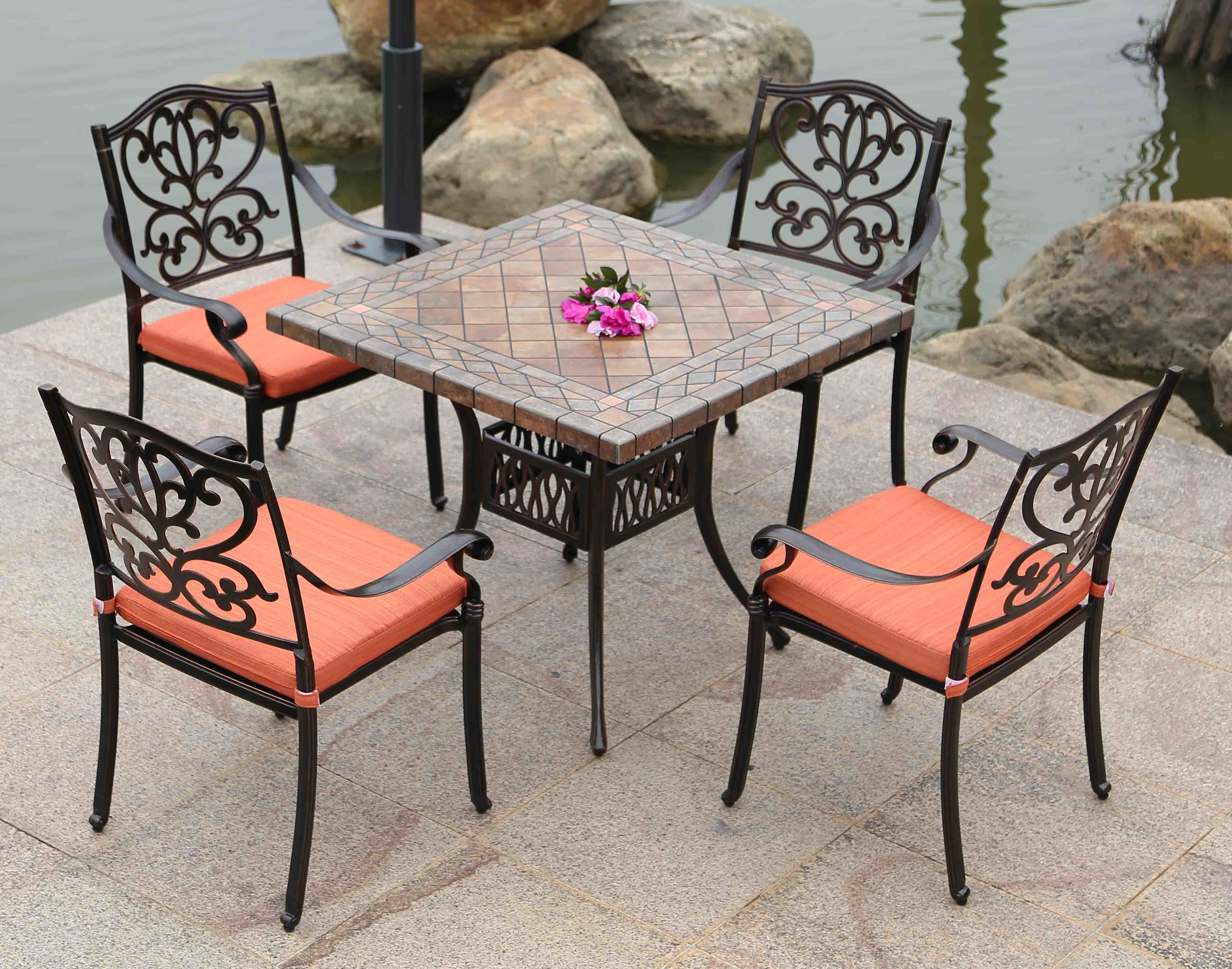Best Choice Cast Aluminum Table and Chairs 35′′x35′′ Outdoor Garden Furniture Brown Finish Stone Top