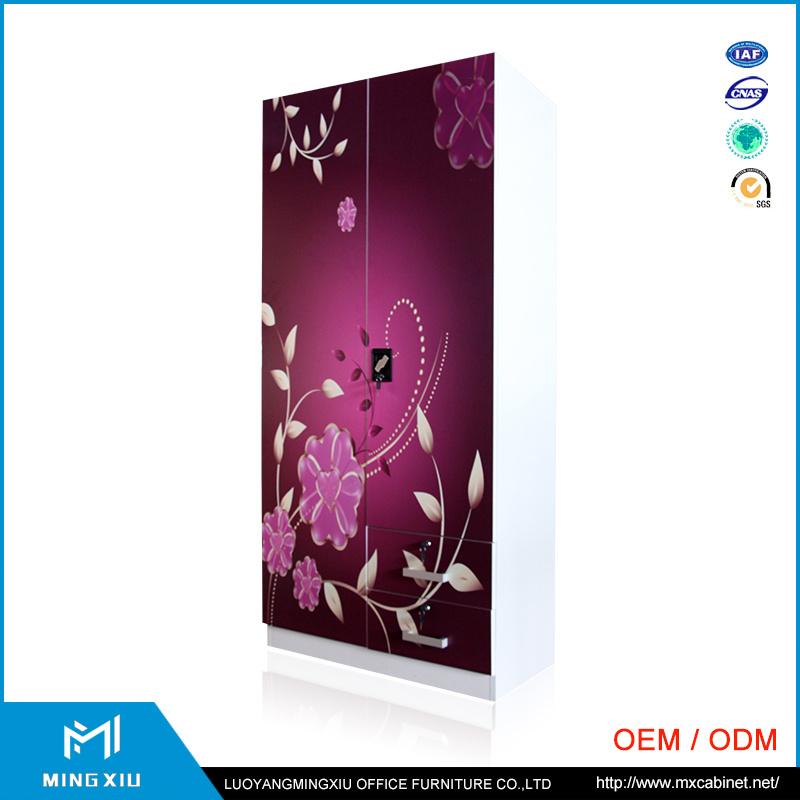 Indian Style High Quality 2 Door Steel Bedroom Wardrobe Design