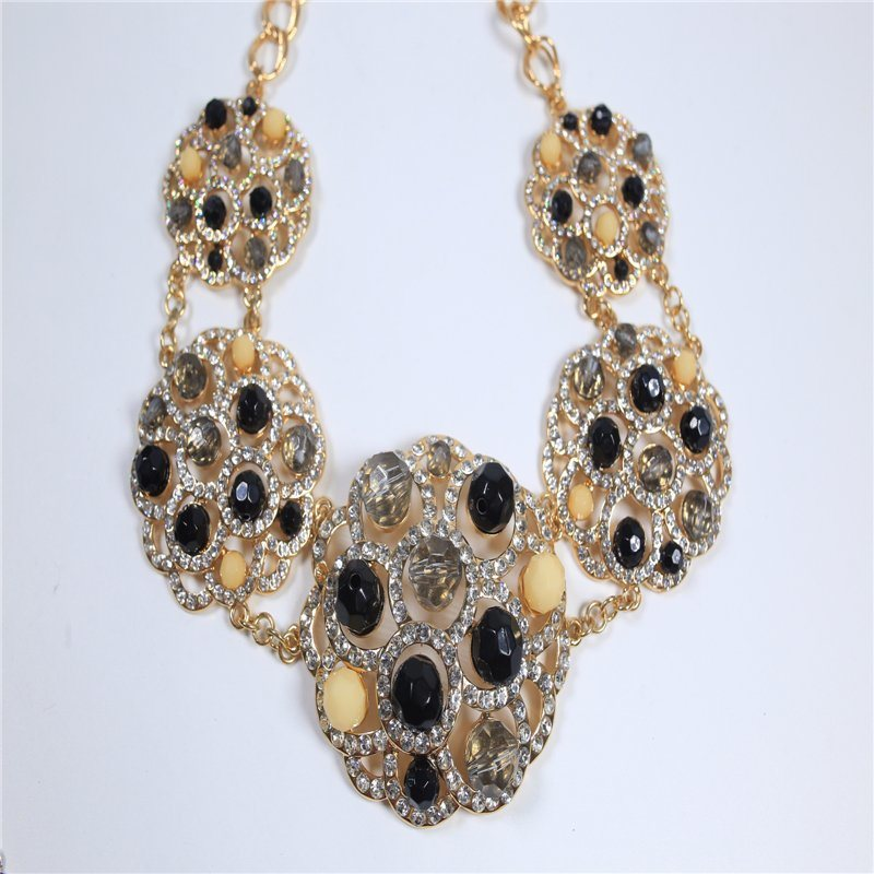 New Design Black Beads Crystal Stones Fashion Jewelry Set Necklace Earring Bracelet