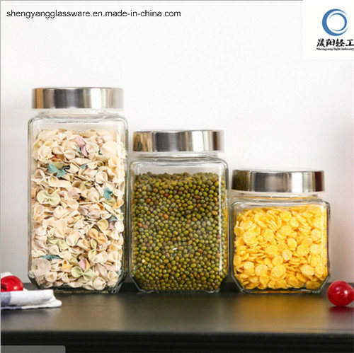 Square Storage Glass Jar with Metal Lid