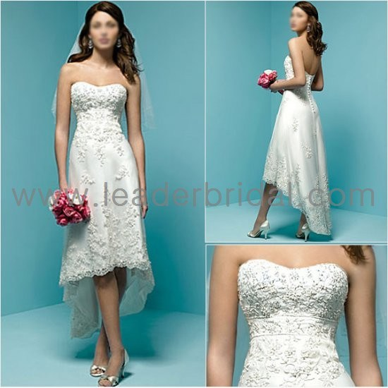 China Beading Strapless Lace Hi Low Tea Length Bridal Wedding Gown H078 Photos Amp Pictures