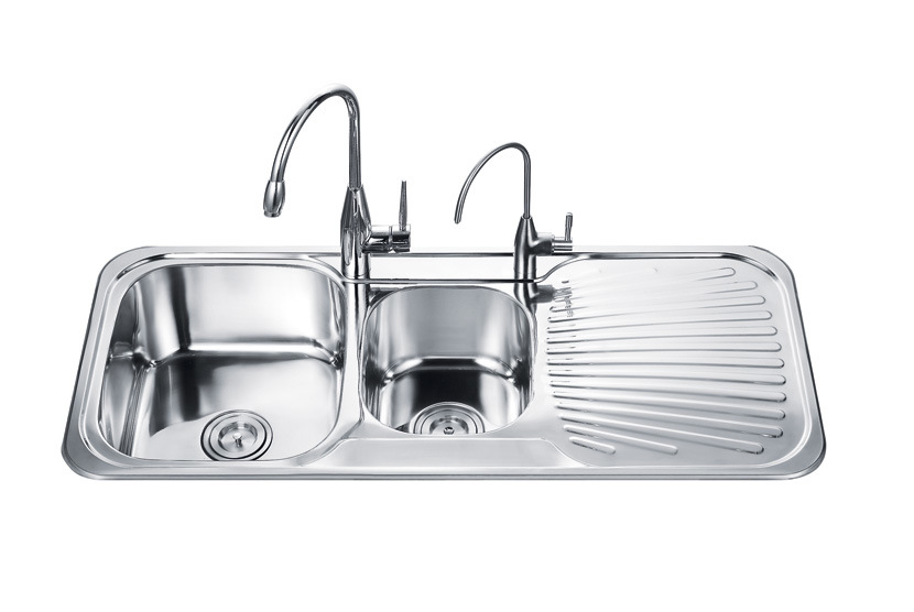 double kitchen sink with drainboard images