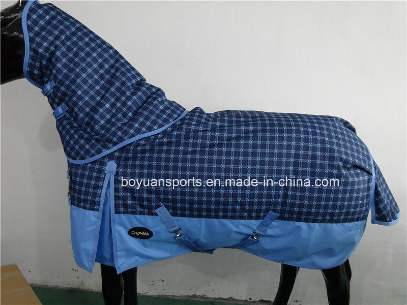 2016 New Design 600d Waterproof and Breathable Winter Horse Rug with Detachable Neck Cover