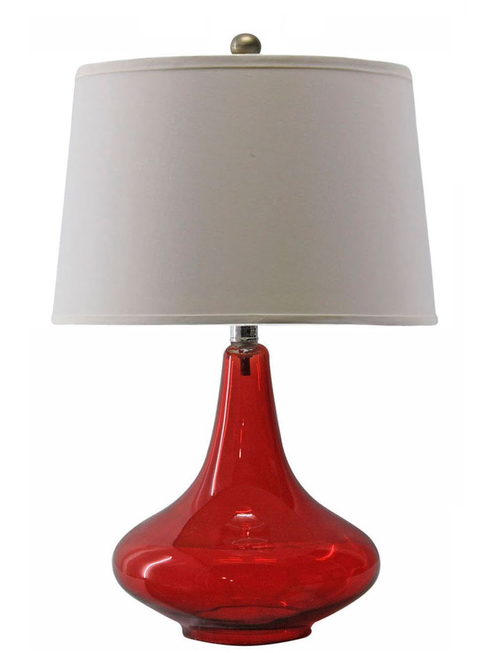 Red Glass Desk Lamp With Fabric Shade - China Desk Lamp, Glass Lamp