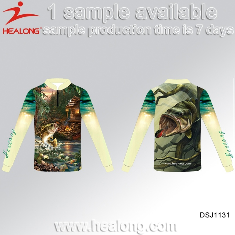 Healong Latest Design Sportswear 3D Sublimation Fishing Shirt