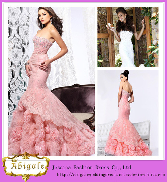 2014 Latest Designs Luxury Pink Mermaid Strapless Crystals Rose Flowers Organza Lace Wedding Dresses in Dubai