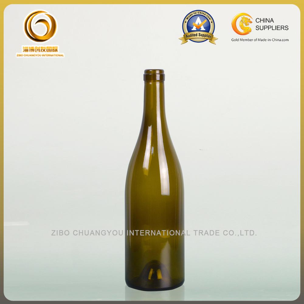 750ml Dark Green Cork Top Burgundy Glass Wine Bottle (007)