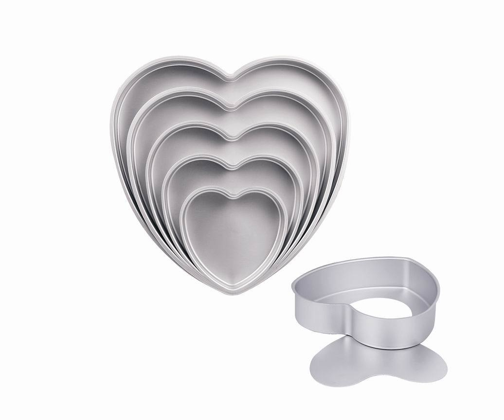 3 Inch Depth Professional High Quality Bakeware Aluminum Anodized Heart Cake Pan with Removable Bottom (MY2746A-MY2754A)