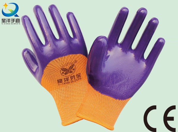 13G Nitrile Orange Polyester Shell, Purple Nitrile 3/4 Coated, Work Glove (N6036)