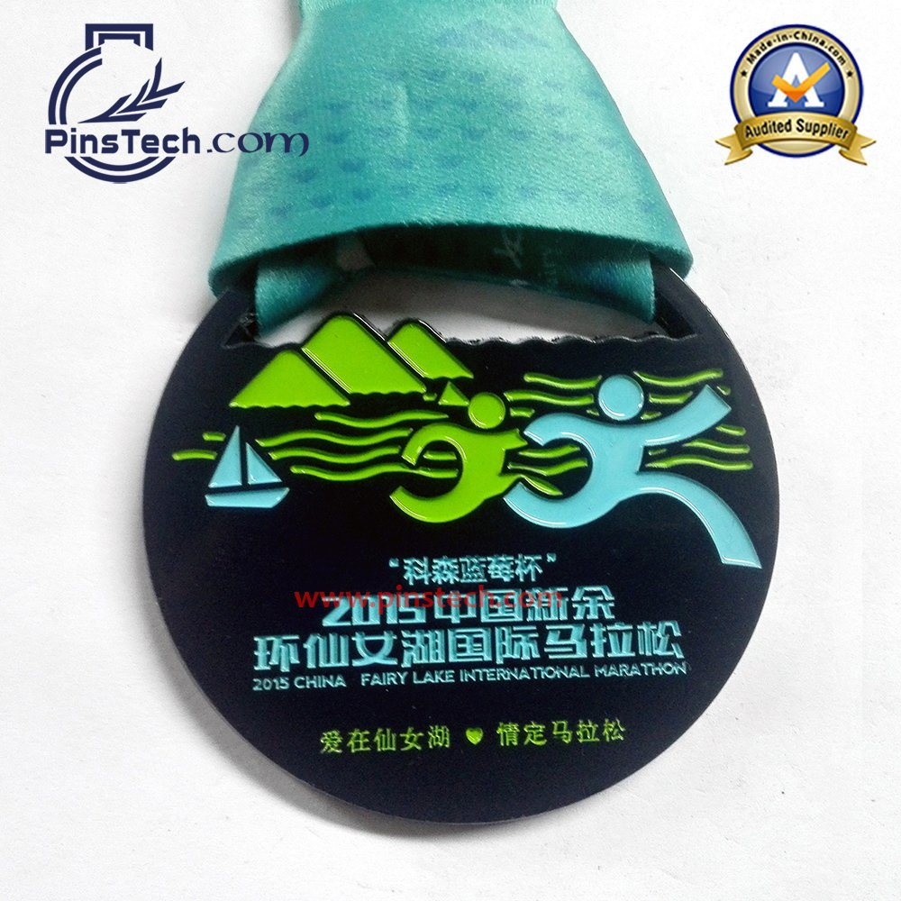 Marathon Run Medal with Spray Painting Finish, Heat Transfer Ribbon