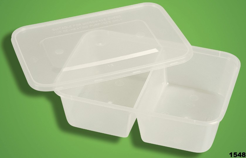 PP Food Container with Lid - Dual Compartment, Microwaveable & Freezable (XD-850)