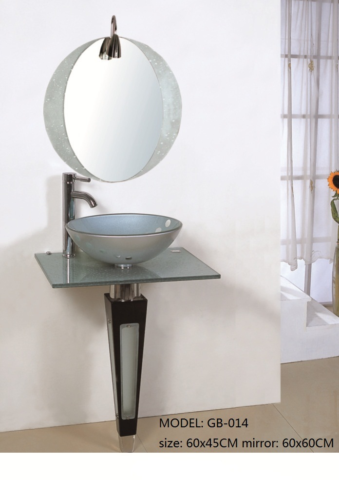 Bathroom Tempered Glass Basin Sink with Mirror