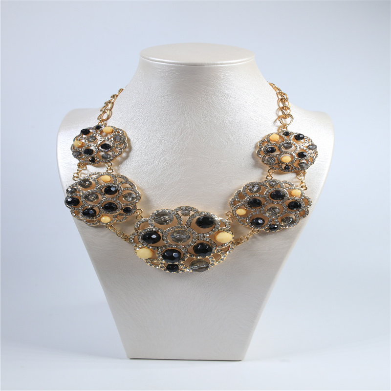 New Design Black Beads Crystal Stones Fashion Jewelry Set Necklace Earring Bracelet