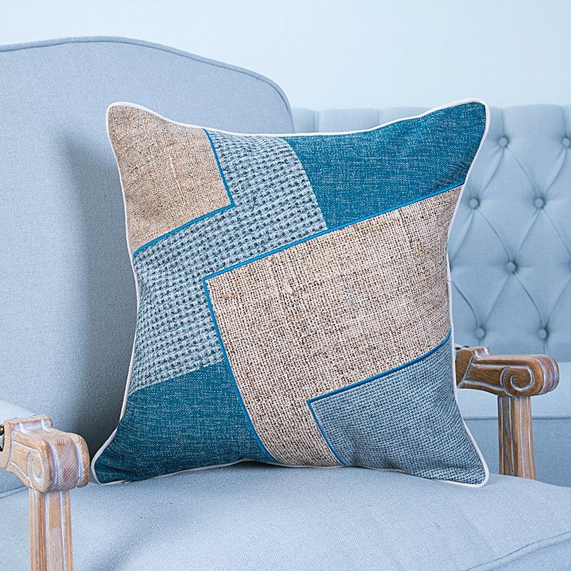 Hand-Made Decorative Cushion/Pillow with Patchwork Geometric Pattern (MX-51)