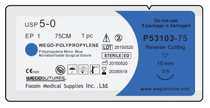 Good Polypropylene Surgical Suture with Small Needle