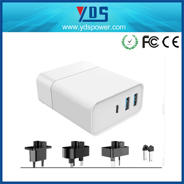 3-Port Quick Charger 3.0 Type-C USB Charger 48W
