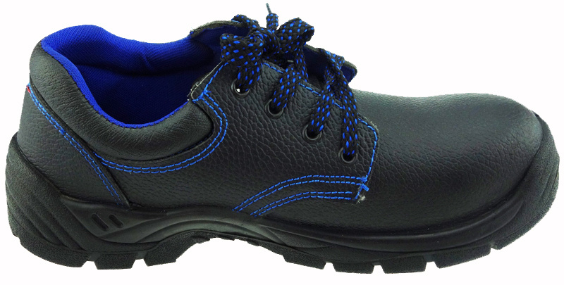 Black Leather Rubber Safety Shoes