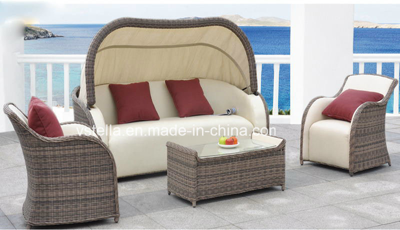PU & Rattan Wicker Patio Outdoor Garden Sofa Set