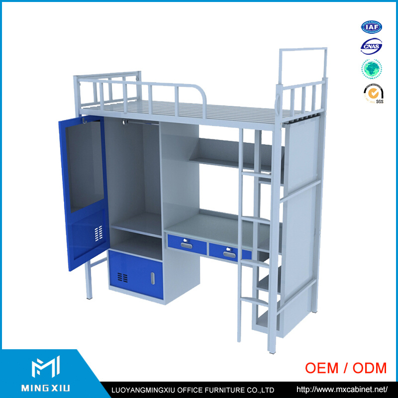 China Supplier Student Dormitory Metal Bunk Bed / Bunk Bed with Desk