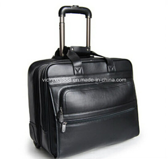 Genuine Leather Wheeled Trolley Boarding Bag Flight Case (CY9962)