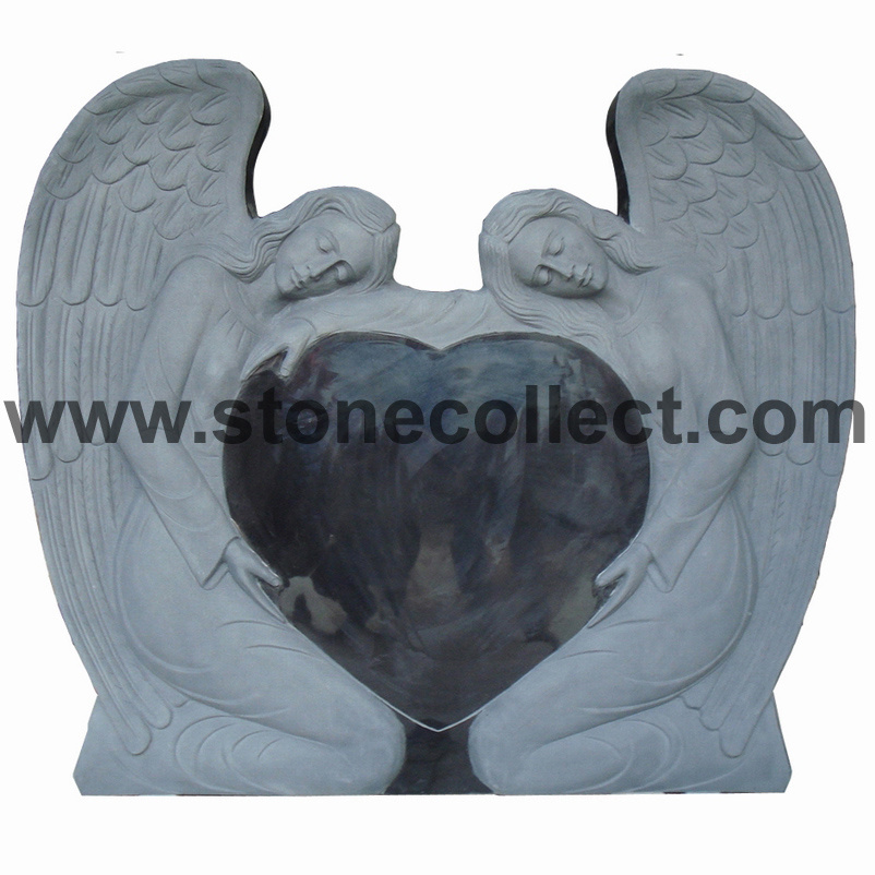 Black Granite Headstone With Carved Angel and Heart