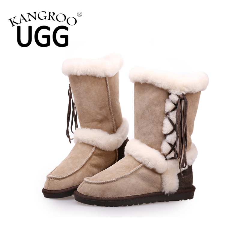 Women′s Double Face Sheepskin Winter Shoes Fashion Boots with Tassel in Sand