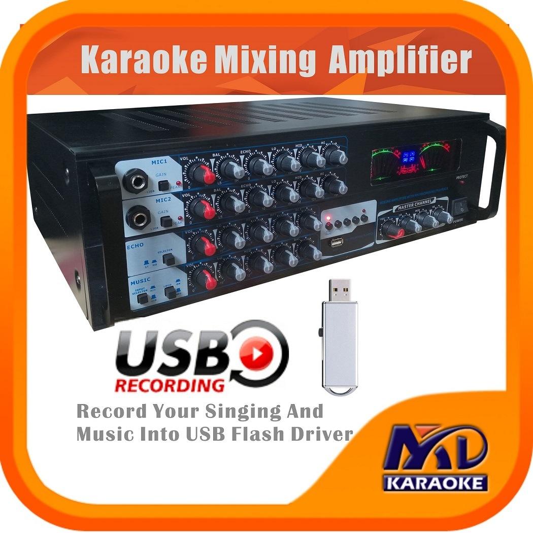Karaoke Mixing Amplifier USB MP3 Recording 250W