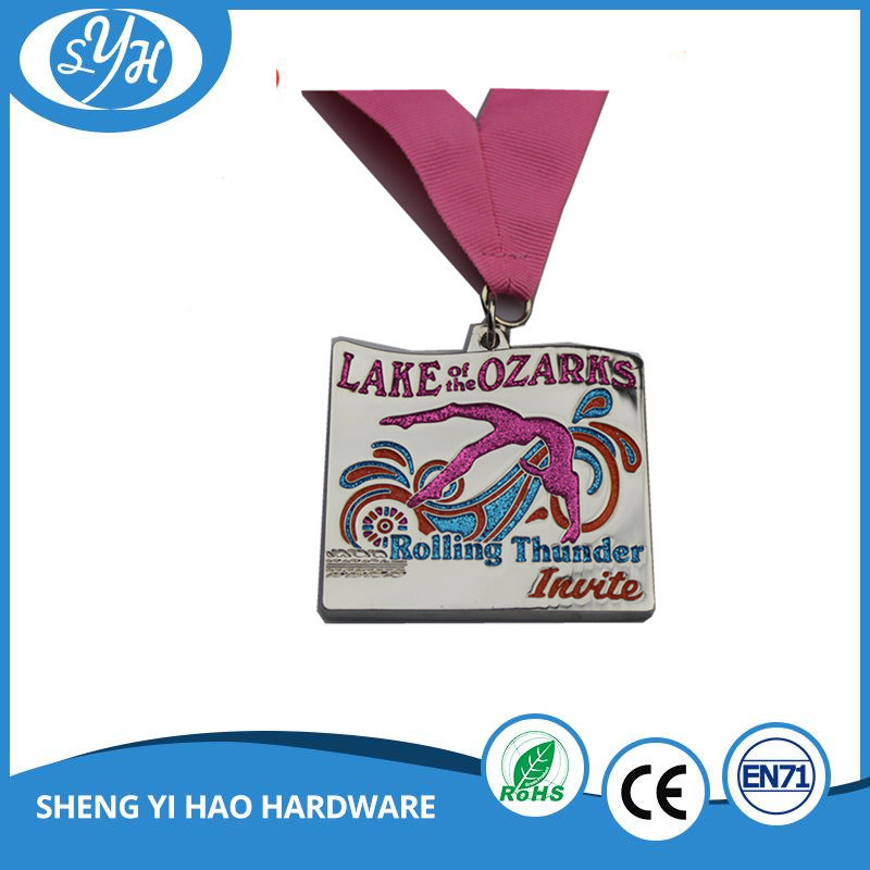 Custom Shiny Silver Finish Soft Enamel Medal