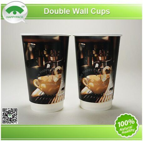 Double Wall Paper Cup 8/12/16oz with Plastic Lids